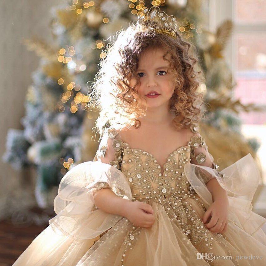 Бальное платье с шампанским 2018 для девочек Pageant Платья с длинными рукавами Жемчуг Кружева Аппликация Принцесса Тюль Пухлые дети Цветочные платья для девочек на день рождения