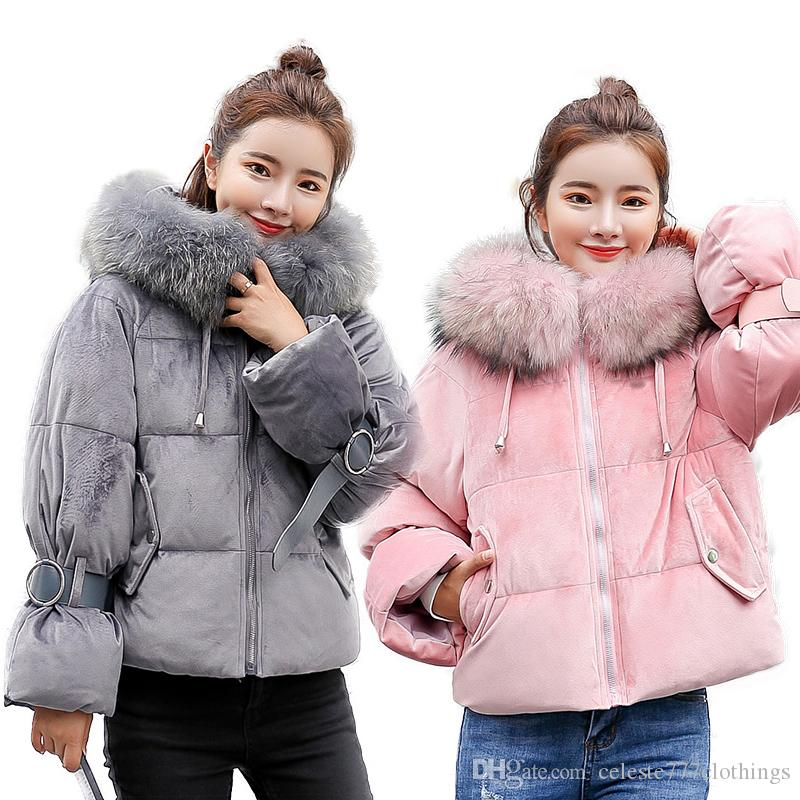 b94c754df944 2019 Fashion Women Winter Warm Down Coat Faux Fur Hooded Parka Puffer Jacket  Short Loose 2019 Luxury Overcoat Black Gray S XL From Celeste777clothings
