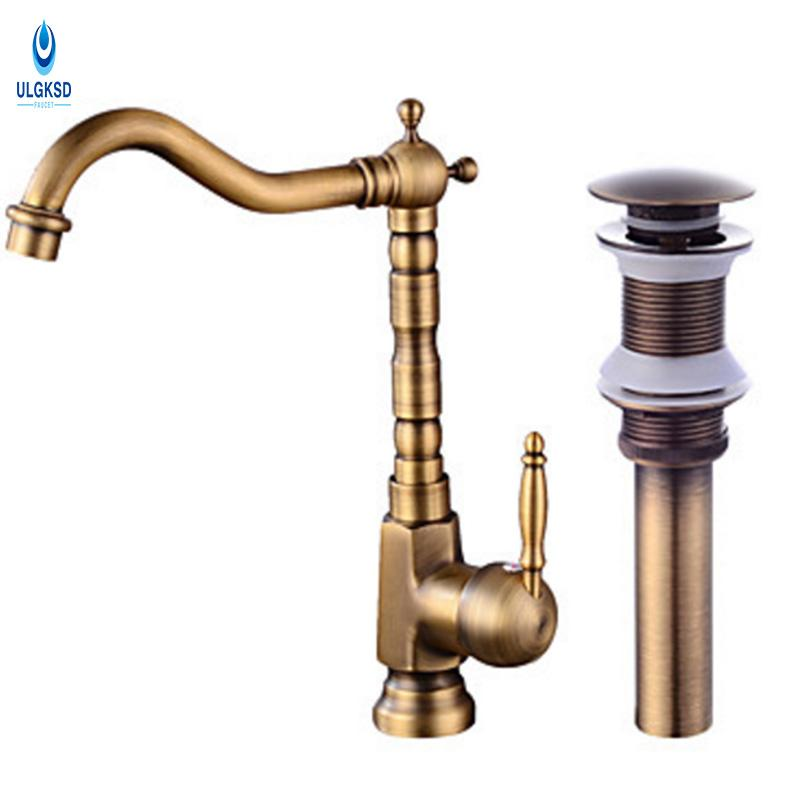 2019 Ulgksd Antique Brass Kitchen Sink Faucet Set Pop Up Drain