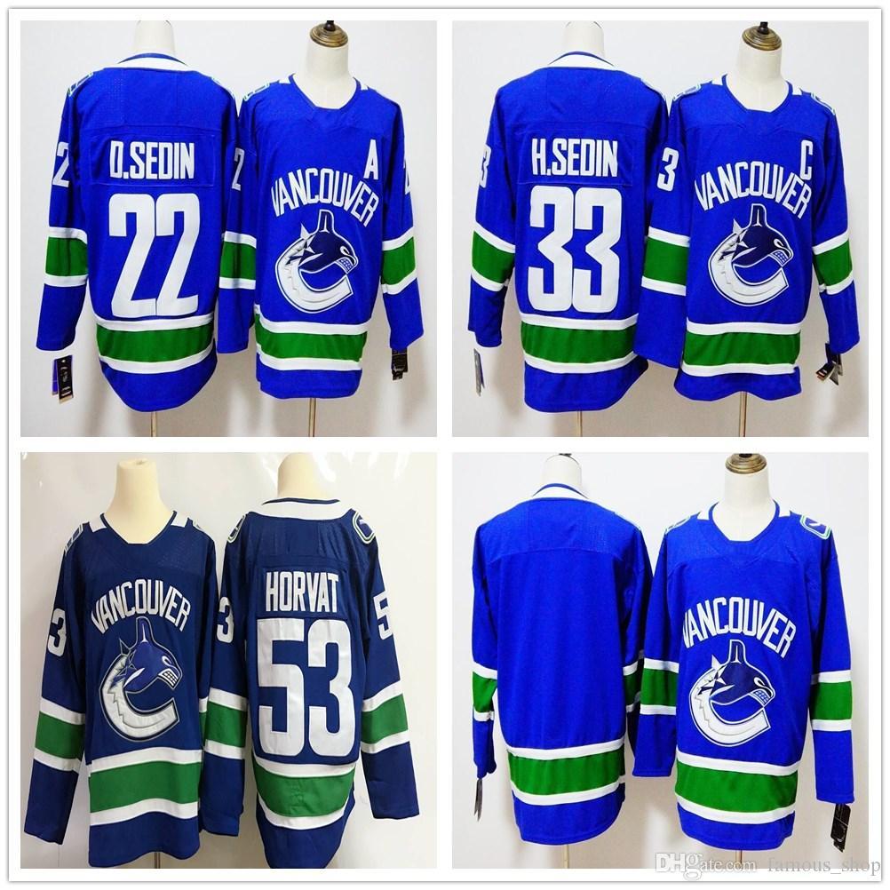 7e2d64a83 ... 2018 ad new vancouver canucks 22 daniel sedin hockey jerseys home blue 33  henrik sedin 53