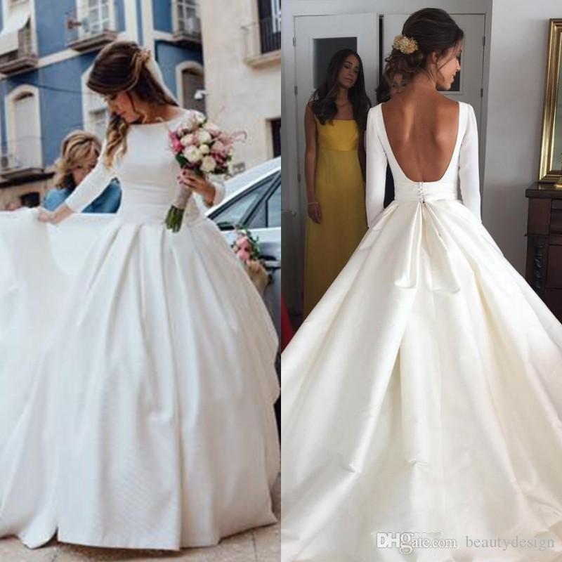 Discount 2018 Simple Cheap Princess Wedding Dresses Full Satin Puffy