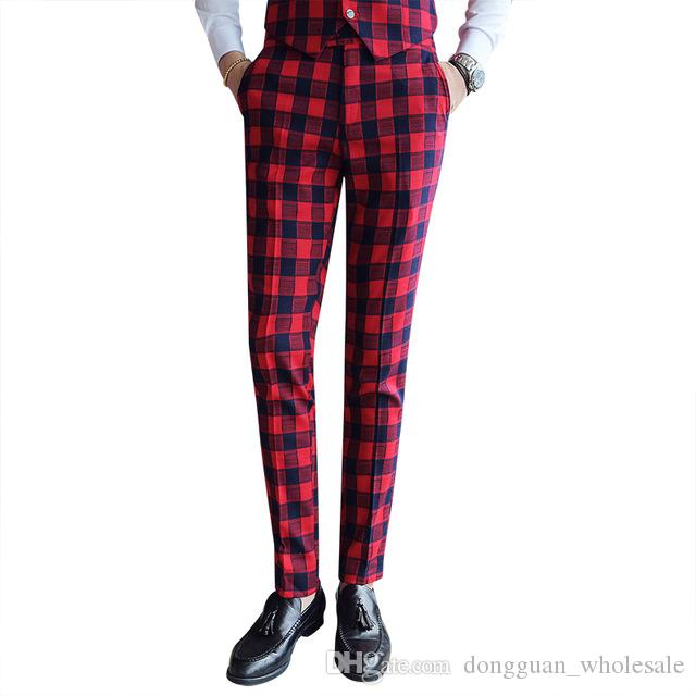 Top 2018 Vintage Men'S Plaid Pants Casual Men Classic Pants Check Suit  ZX27