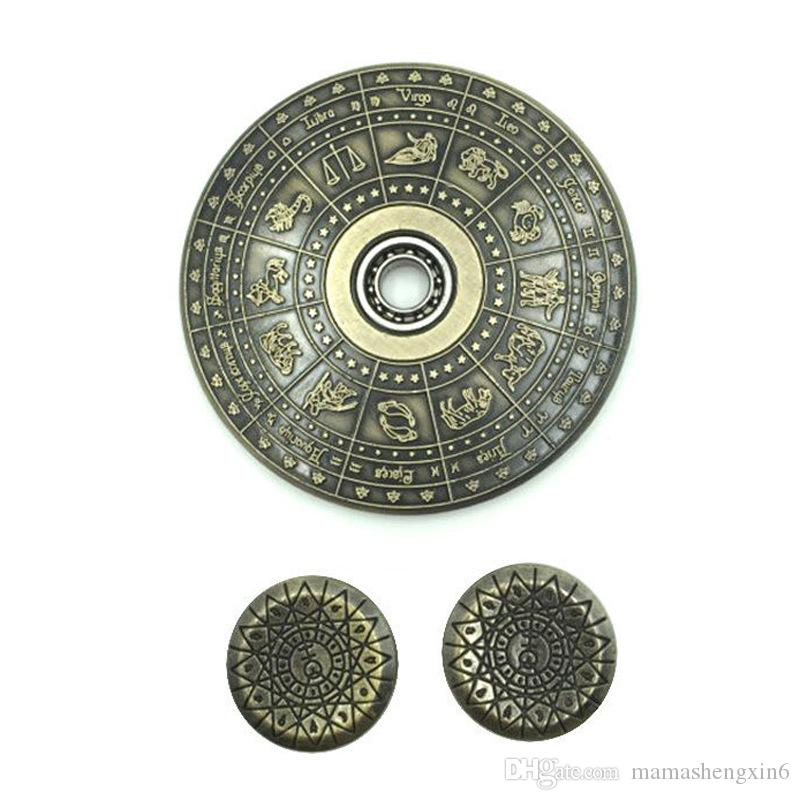 New Egypt 12 Constellation Ancient Fidget Spinner Metal EDC Cool Stress Toy Hand Spinner Finger Gyro Zinc Alloy Spinning Top Toys
