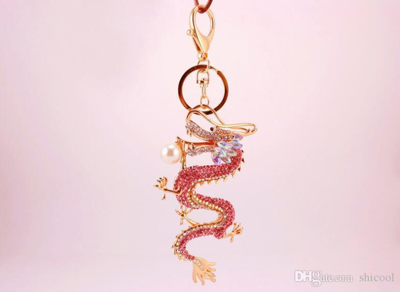Good Luck Chinese Dragon Keychain Blingbling Loong Luxury Womens Keychains  Bag Charm Jewelry Car Key Chain Holder Party Gift Keychain Wallet Remove  Before ... 1c917fcfdb