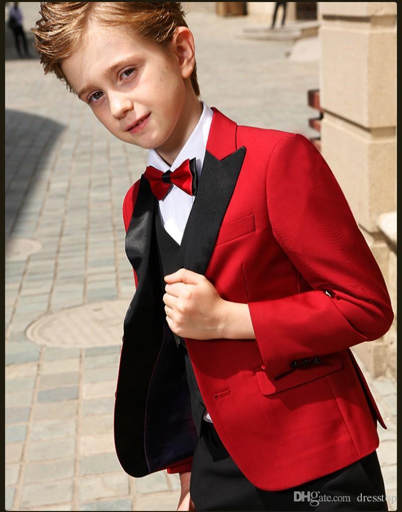 Akıllı Gençler Smokin Custom Made Boys Parti Resmi Pantolon Takım Elbise Takımları Düğün Damat Smokin Boys Için Ceket + Pantolon + Yelek + Papyon