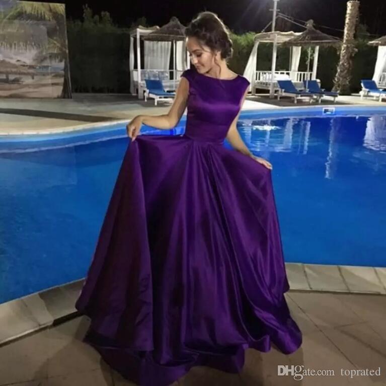 2018 Elegant Purple Evening Dresses Jewel Cap Sleeves Satin Formal