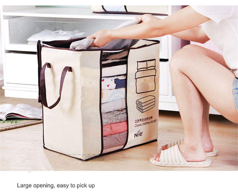 2018 Non-woven Portable Clothes Storage Bag Organizer 45.5*51*29cm Folding Closet Organizer For Pillow Quilt Blanket Bedding