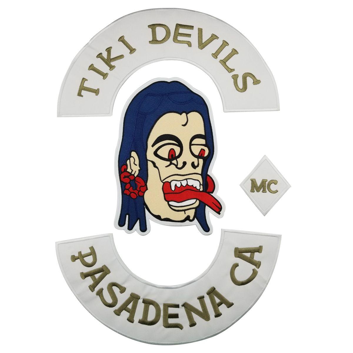 New TIKI DEVILS PASADENA CA MC Biker Skull Embroidery Mc Motorcycle Club Rocker Buttom Rocker Large Back Patch Jackets Vest Skull Patch F