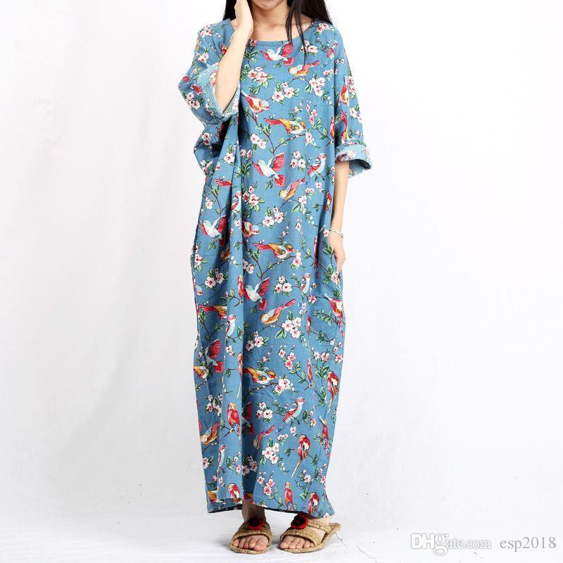 5a687bf67f6 Acheter Plus La Taille Floral Femmes Robe 2016 D été Longue Robe Betwing  Manches Coton Lin Maxi Robe Retour Fente Robes Robes Longues Ete De  43.27  Du ...