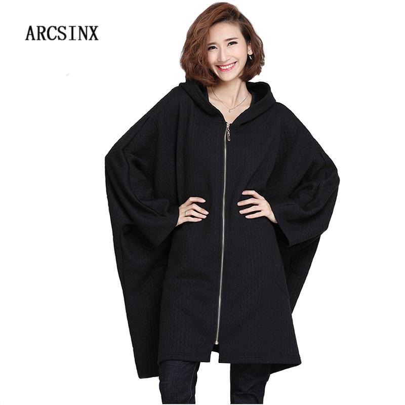 a9aae964ef4 ARCSINX Oversize Women Jackets 4XL 5XL 6XL 7XL 8XL 8XL 9XL 10XL Autumn  Black Batwing Sleeve Hooded Women Overcoats Plus Size Jackets Online Wool  Jacket From ...