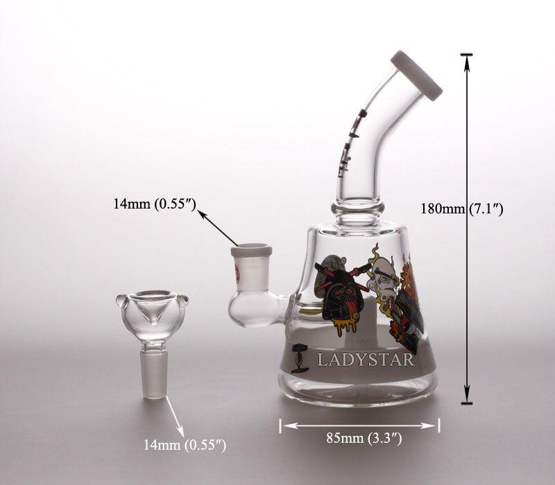 New glass bong Glass Dabs Rigs Smoking Water Pipes 14mm Hookah Shisha water bongs Glass Rigs Recycler Mini Bong Water Pipes Bongs L199