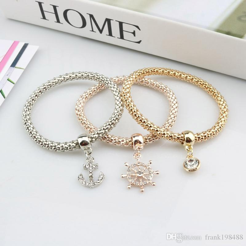 Crown Bracelet Key Heart Love Skull Silver Rose Gold Plated Corn Chain Elastic Bracelets for Women Girls Jewelry Party Wholesale
