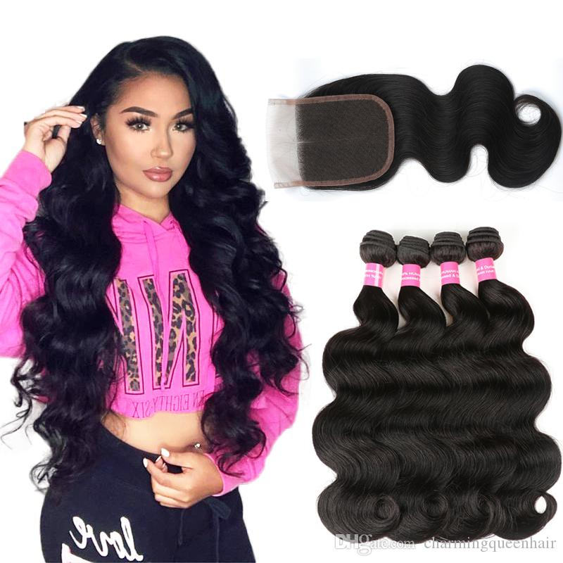 8A Brazilian Body wave With 4X4 Lace Closure Unprocessed Brazilian Virgin Hair Body Wave With Closure Extensions Brazilian Human Hair Weave