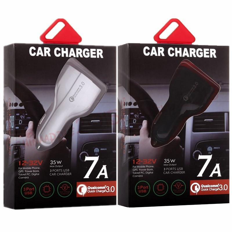 Type c car charger 3 Usb Ports fast quick charging auto power adapter 35W 7A car chargers for ipad iphone 8 x samsung s7 s8 android phone