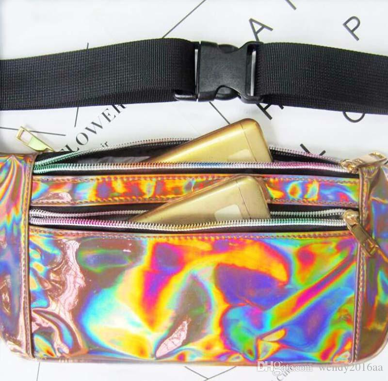 2018 Light And Thin Style Laser Waist Bags Women metallic silver Fanny chest pack sparkle festival hologram purse travel bag