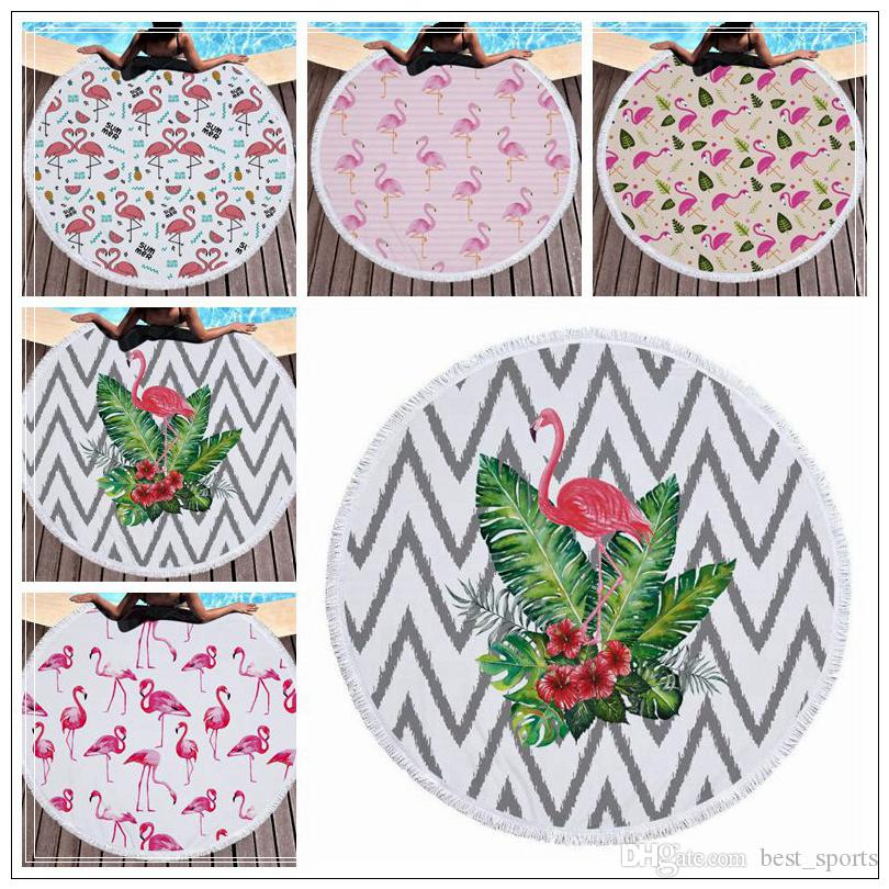 5 Styles 150cm Flamingo Printed Round Tassel Beach Towel Women Shawl Tablecloth Picnic Rugs Yoga Mat Round Beach Towel CCA9698 6pcs
