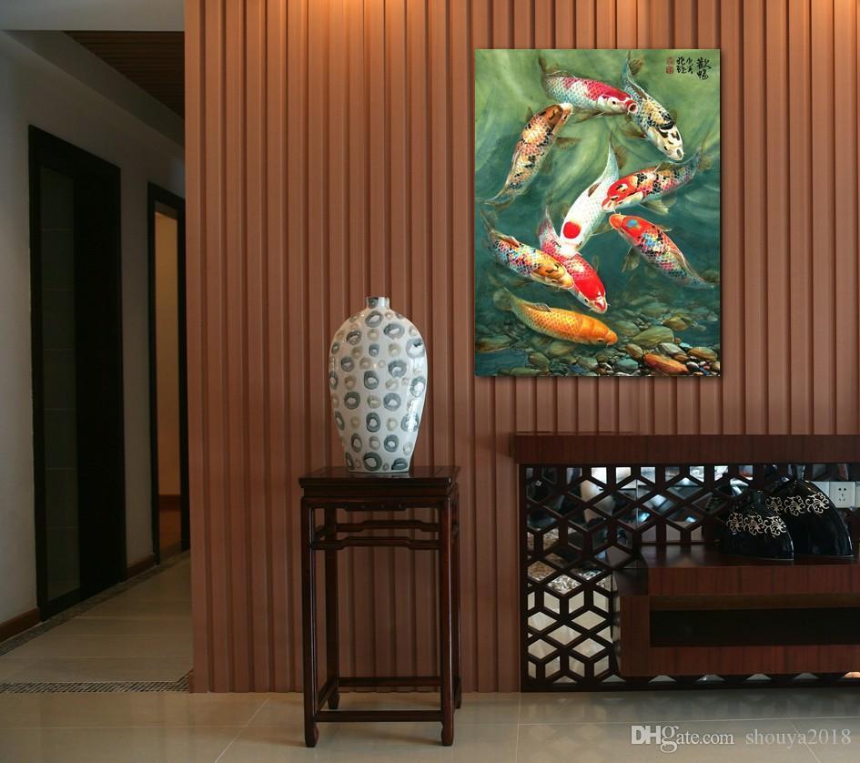 شحن مجاني واحد قطعة قماش جدار الفن كوي الأسماك جدار الفن الشرفة الديكور الصينية الفن الحديث جدار ديكور مكتب اللوحة