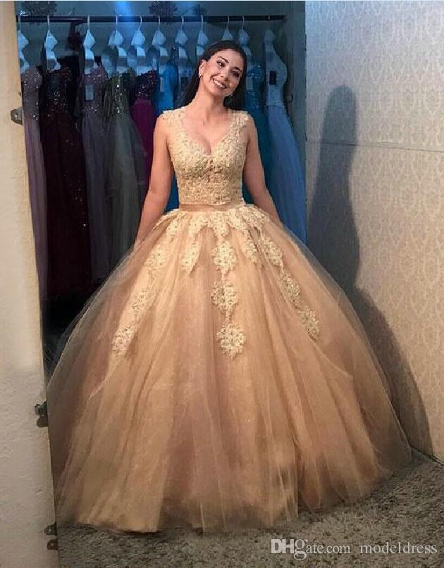 Dark Champagne Quinceanera Dresses V Necl Appliques Tulle Sheer Back  Sleeveless Sweet 15 Dresses For Birthday Party Ball Gown Prom Dress Maid Of  Honor ... a0d2f3730f0f