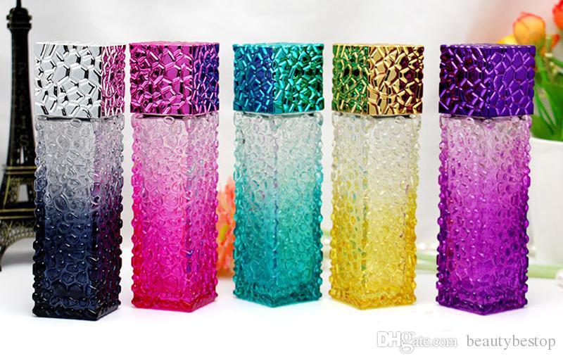 Melhor Preço de Fábrica Cubo de Água Projeto Vazio Perfume Garrafas 50 ml Atomizador Spray de Vidro Recarregável Garrafa Spray Perfume Caso
