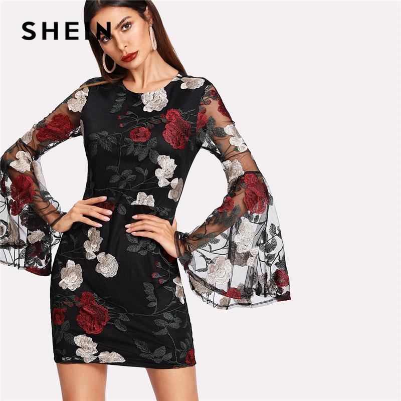 37f746a7f1 2019 SHEIN Floral Embroidered Mesh Flare Sleeve Dress Women Black Round  Neck Long Sleeve Bodycon Dress 2018 Lining Sexy Party From Vanilla15, ...