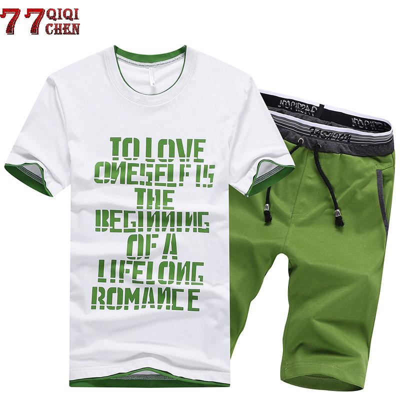 New 2018 Mens Fitness Tracksuit Set Summer Casual Sporting Suit Men Shorts Sets Short Sleeve Letter TShirt +Shorts Plus Size 4XL