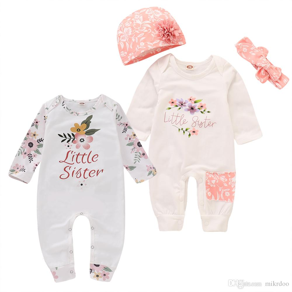 a661fcd82ecc 2019 Mikrdoo Todler Newborn Baby Girls Cute Little Sister Letters Romper  Clothes Floral Print Long Sleeve Jumpsuit With Hat Headband Outfit From  Mikrdoo