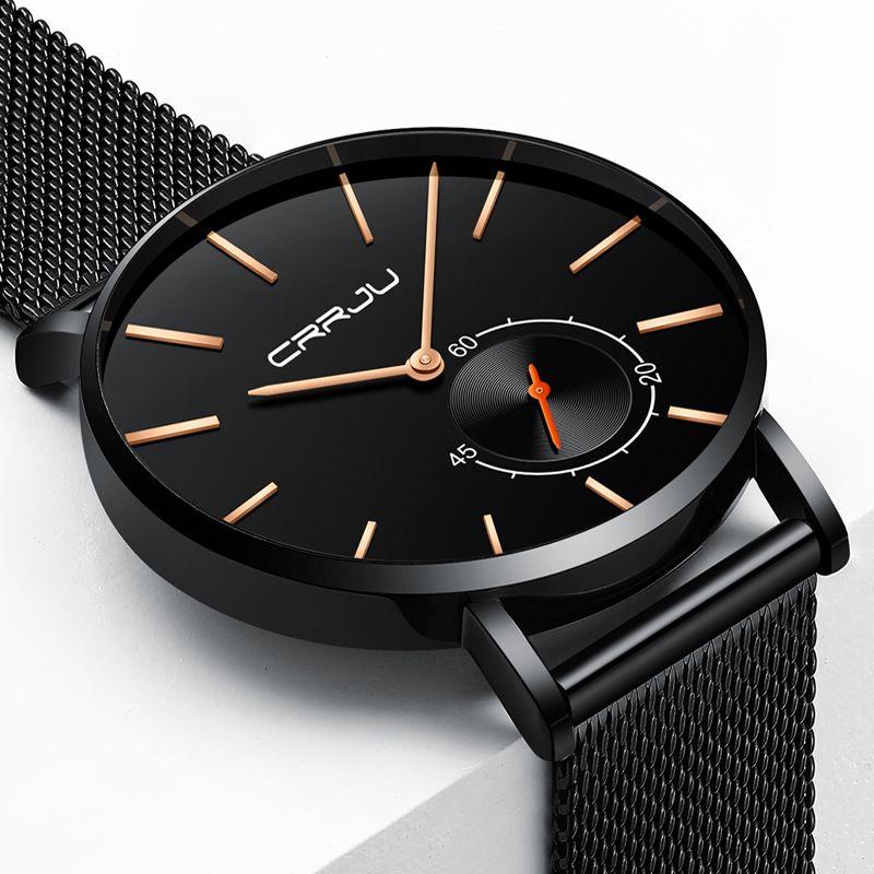 46141129b798 Compre Relojes 2018 Reloj Hombres Crrju Reloj De Cuarzo De Moda Relojes  Para Hombre De Primeras Marcas De Lujo De Negocios Impermeable Reloj  Relogio ...