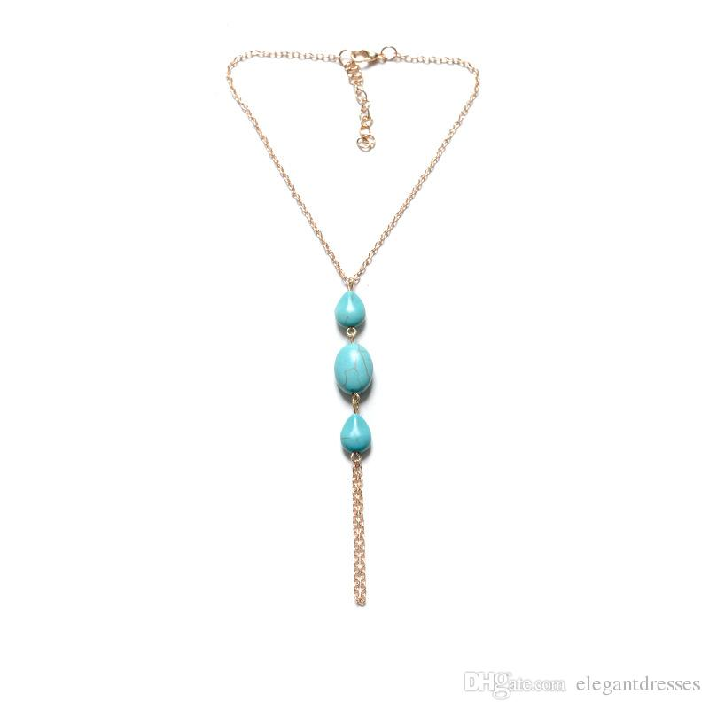 Turquoise Beads Beach Bridal Feet Ankle Bracelet Spring Chain Female Anklet Foot Jewelry Chain Bridal Accessories A Leg Diamond Jewelry
