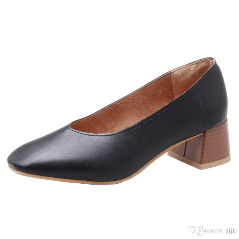 SJJH 2018 Woman Pumps with Square Toe and Chunky Heel Elegant Working Shoes for Fashion Women with Large Size Available A187