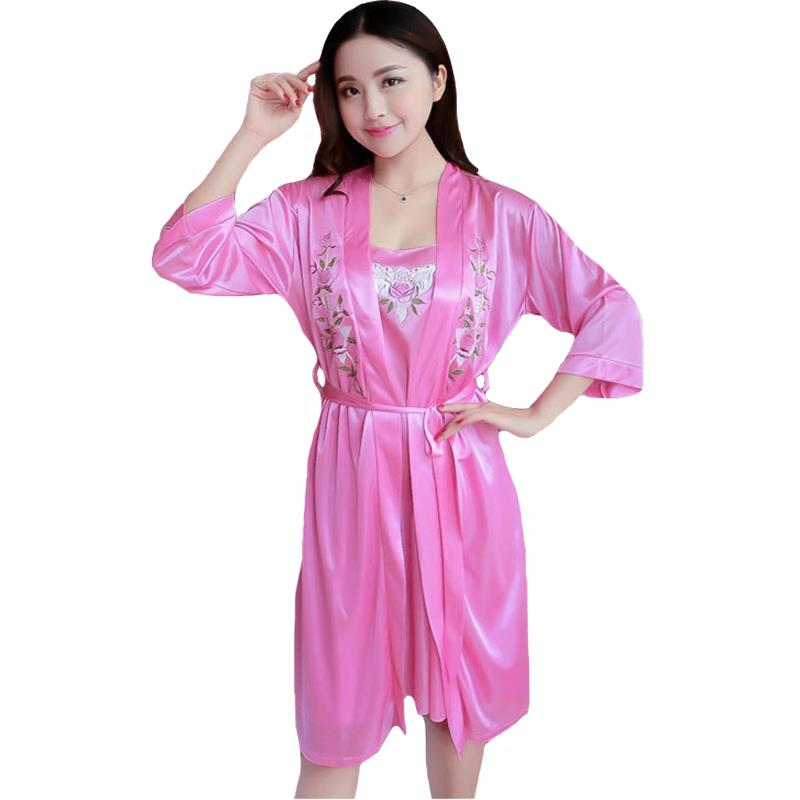 2019 Pink New Women Pajamas Set Lady Twinset Sleepwear Set Flower Sexy Suit  Solid Silky Nightwear Sexy Kimono Bathrobe Gown From Yuhuicuo 5ba240fa5