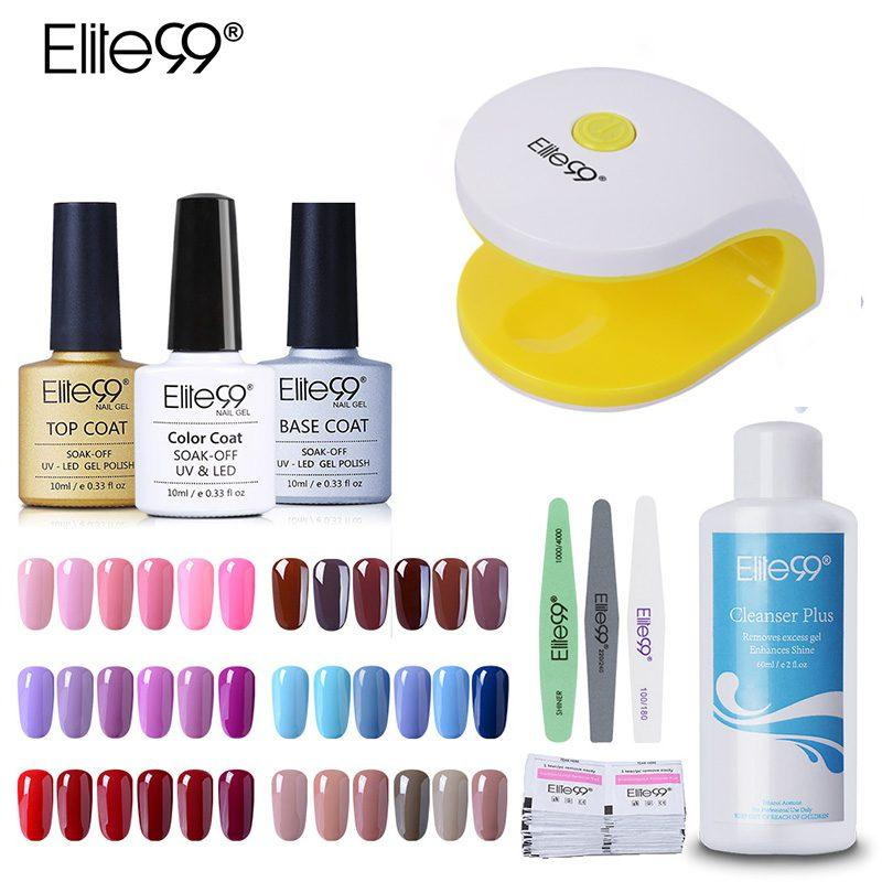 Elite99 Colorful Uv Nail Gel Polish Set Kit Base Gel Top Coat