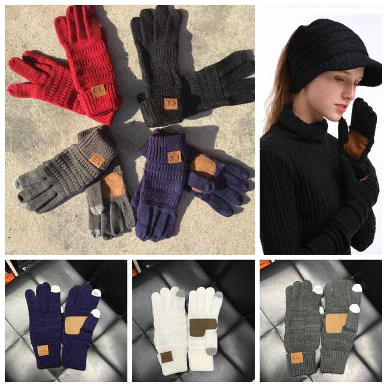 53e33487f0a79 CC Knitted Gloves Capacitive Touch Screen Gloves CC Women Winter ...