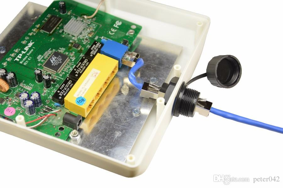 RJ45 Ethernet fixo ponte comum AP cabeça reta Rj45 M25 F conector soquete blindado com tampa à prova d 'água