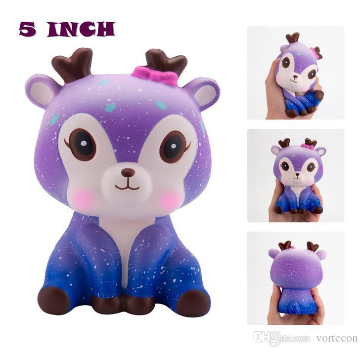 2018 new kawaii sika deer squishy toys jumbo squishies animal shape simulation pu sika deer squishies toys slow rising decompression toy top toys this