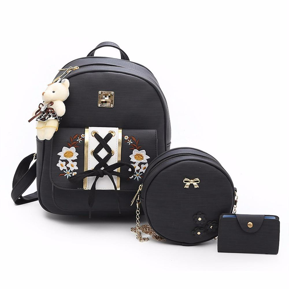 6987280ac3e949 Pu Leather Backpack New Arrival Three Piece Bag Sets Women Shoulder Bag  Embroidered Purse With Bear Doll Studded Chain Round Laptop Backpack  Backpacks For ...