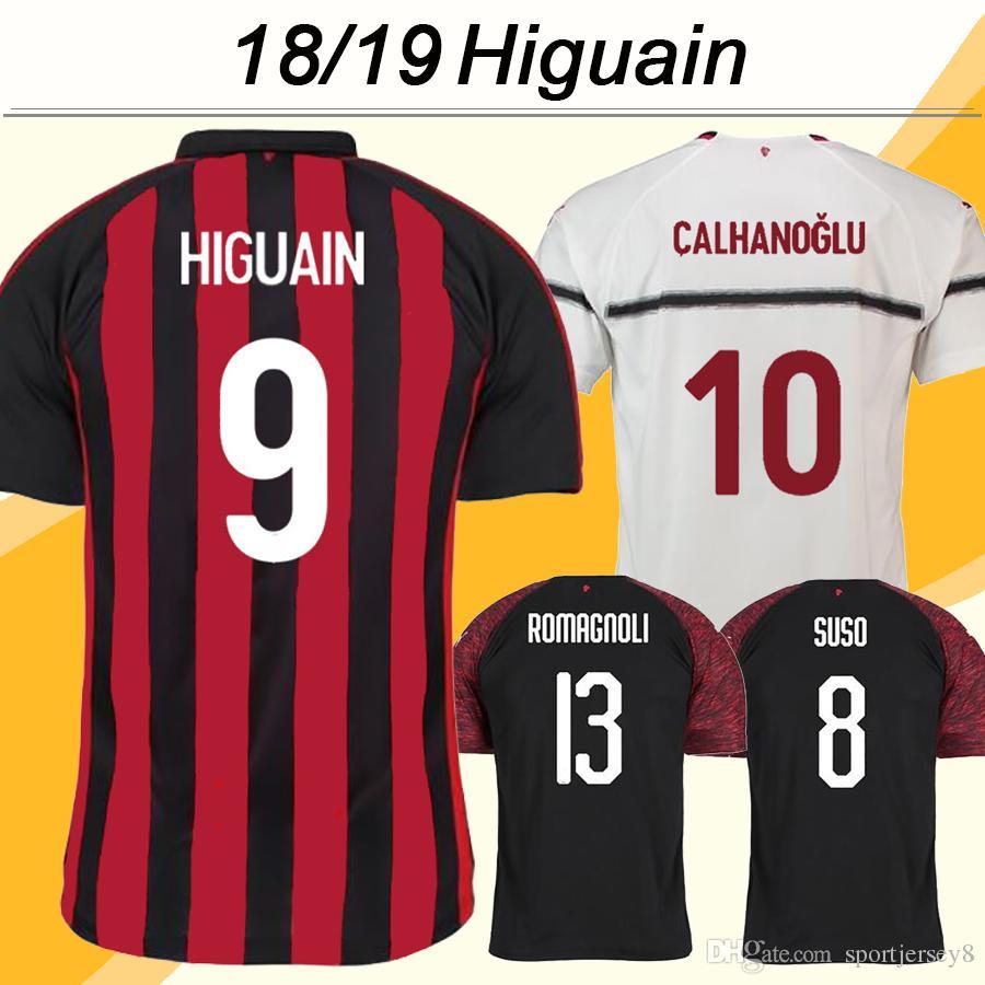 2018 19 Milan Soccer Jerseys HIGUAIN CALHANOGLU SUSO Home Away 3rd Men  Camisetas De Fútbol Top ANDRE SILVA CALHANOGLU RODRIGUEZ Uniforme Corto Por  ... 6f8c29aa43eba