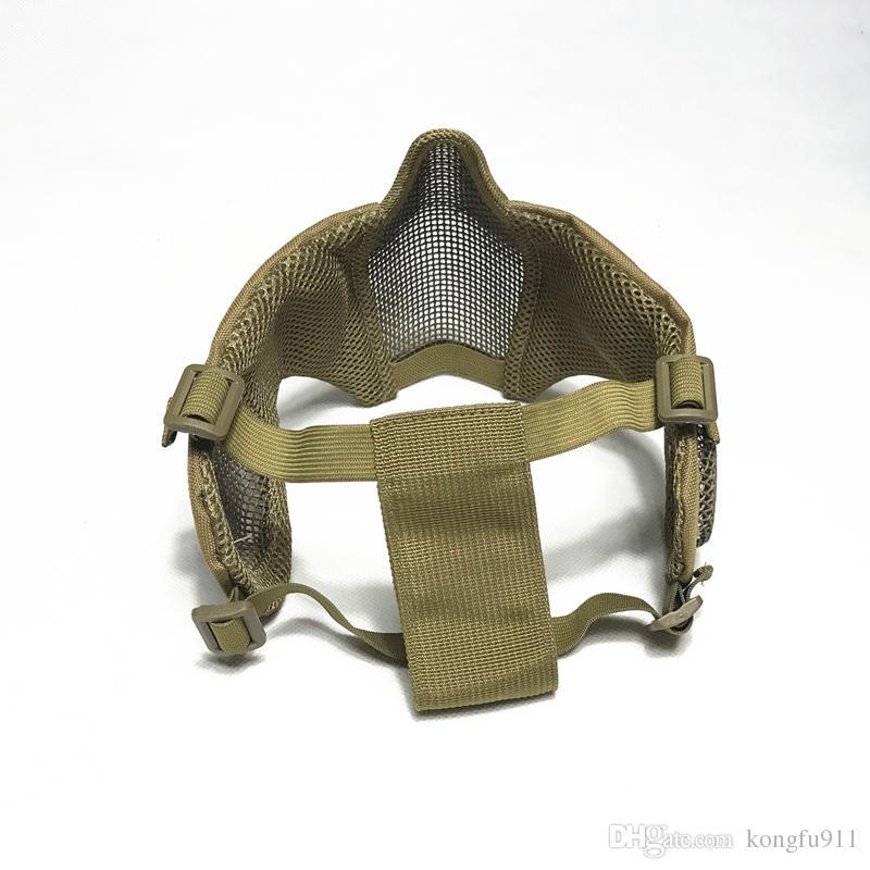 قناع شبكة طوي التكتيكية مع حماية الأذن لالادسنس الألوان مع حزام حزام مطاط قابل للتعديل