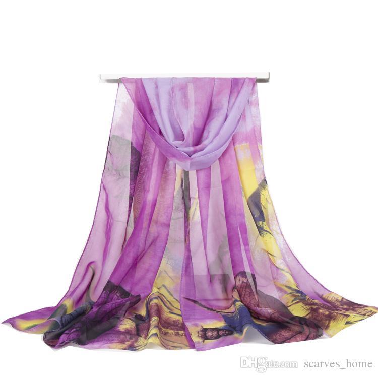 Chegada nova moda cachecol das mulheres grandes Folhas de impressão chiffon lenços de seda fino longo xales outono e inverno hijab wraps Capa de Praia