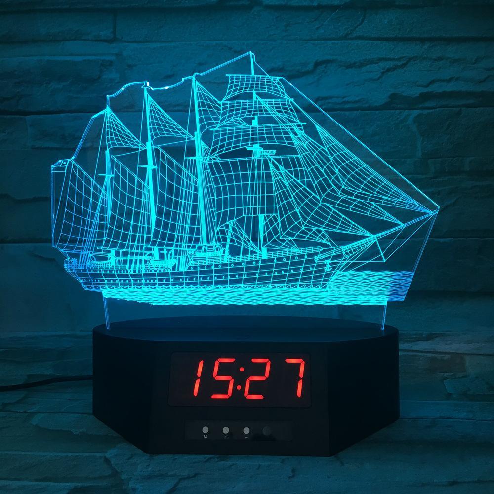 Acrylique 3d Calendrier Lampe Voile Couleur Led Bureau De 7 's Changement Creative Kid Horloge Veilleuse mNnwOv80