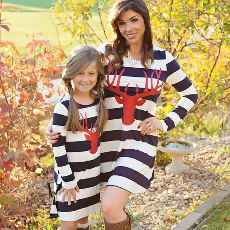 Mutter Tochter Kleider Mutter und Tochter gestreiften Kleider Kinder Elternteil einteiliges Kleid Familie passenden Outfits