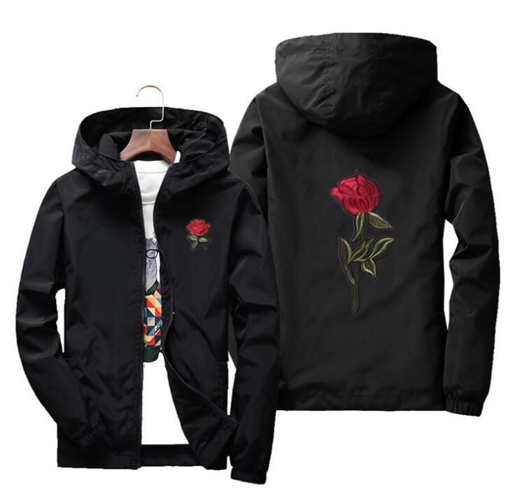 2018 moda Rüzgarlık Ceket gosha Rubchinskiy Erkekler Kadınlar Kaykay Ceket Hip Hop rüzgarlık yeezus Gül Nakış ceket