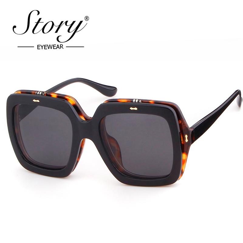 e7256b87333 STORY Clip On Flip Up Sunglasses Men Women Brand Designer Square Oversized  Black Leopard Sun Glasses For Femal 2018 Shades Clip on Flip Up Clip on Brand  Sun ...