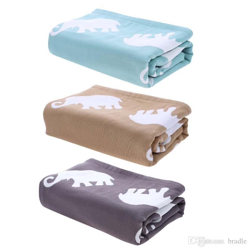 Pure Cotton Soft Warm Baby Bath Towel Newborn Blanket Large Size for Adult Children Cartoon Elephant Print Swim Quilt