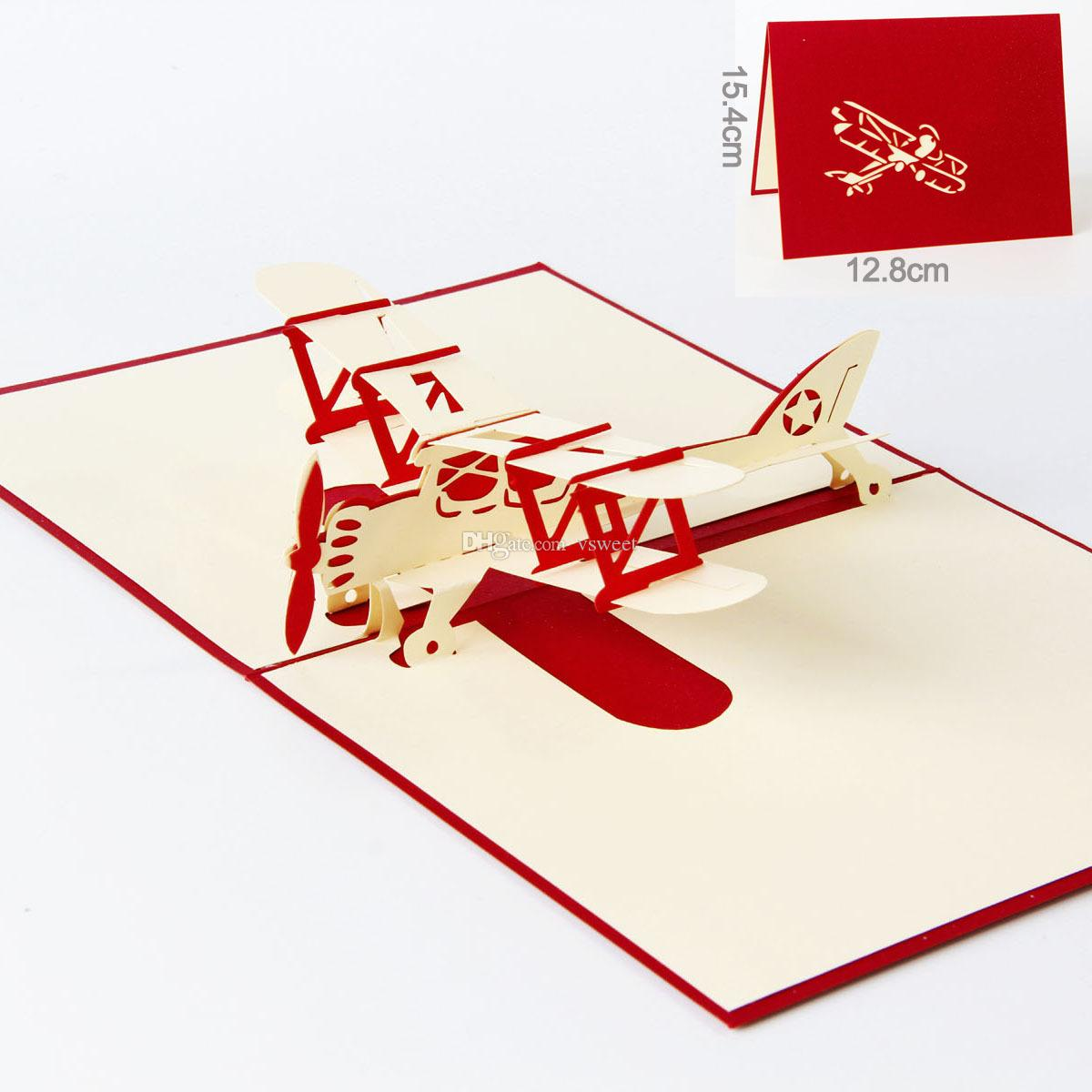 3d Handmade Pop Up Greeting Cards Plane Design Thank You Airplane ...