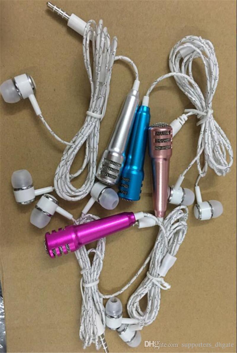 Mini Condenser Microphone headset KTV Songs perfume earphone k singing pocket karaoke headphone Portable Speaker for cell phone