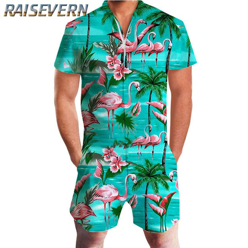 c5b47fcc65b0 2019 RAISEVERN Harajuku Rompers For Men Striped Jumpsuit Flamingo Pineapple  Cartoon Harem Cargo Overalls Summer HipHop Casual Pants From Yonnie