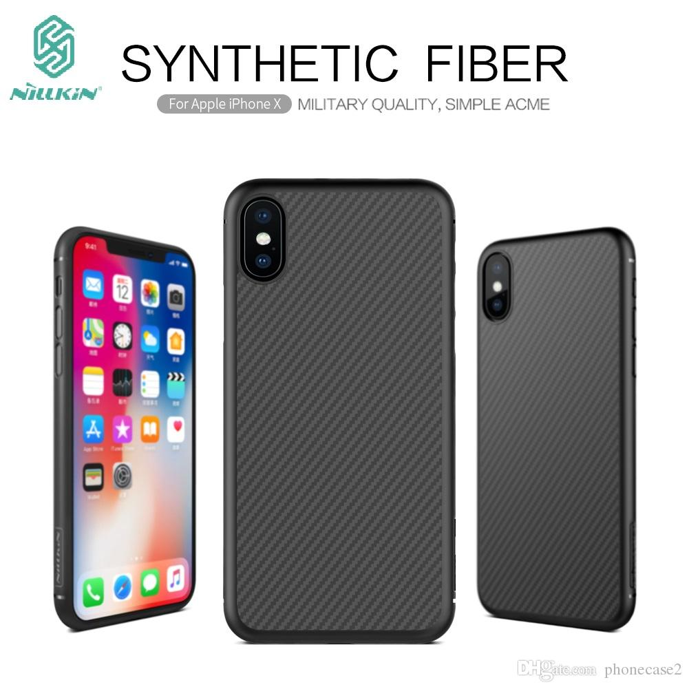 the best attitude f279d 51f50 For Apple iPhone x Case NILLKIN top Quality Synthetic Carbon Fiber PP  Plastic Hard Back Cover Case For iPhone 10 iPhone X 5.8inch
