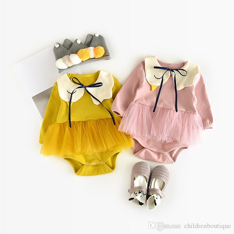 8f12e37c64de 2019 Newborn Baby Rompers Infant Toddler Clothes Baby Girls Swan Solid  Romper+Bib Outfits Japanese Style Newborn Baby Girls Jumpsuits From  Childrenboutique