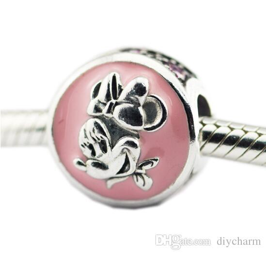 2018 perline d'argento con cz rosa adatto pandora bracciali in argento sterling 925 con perline