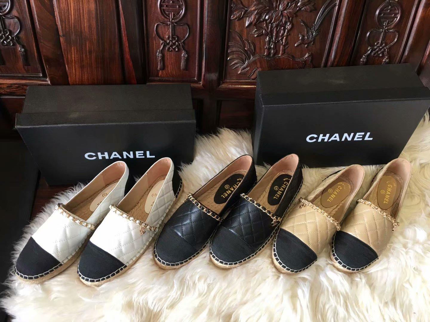 556da4bfe57 Top Quality Letter Leather Chain Espadrilles Thick Bottom Flat Ballet Shoes  Genuine Leather Fashion Woman Casual Shoes Espadrilles With Box Comfortable  ...